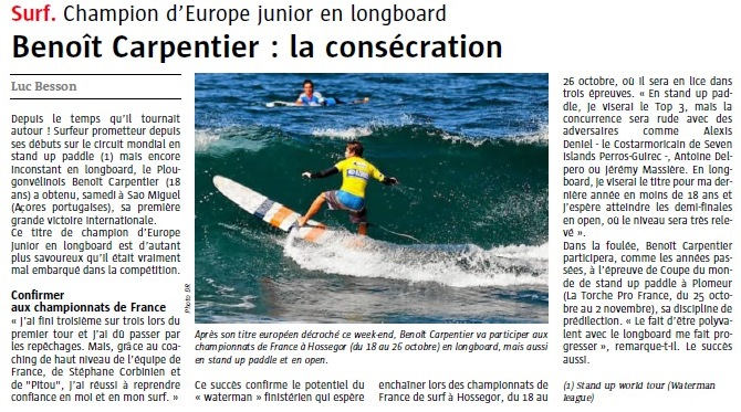 Benoit Carpentier-Le Télégramme -page Sports- 23sept2014