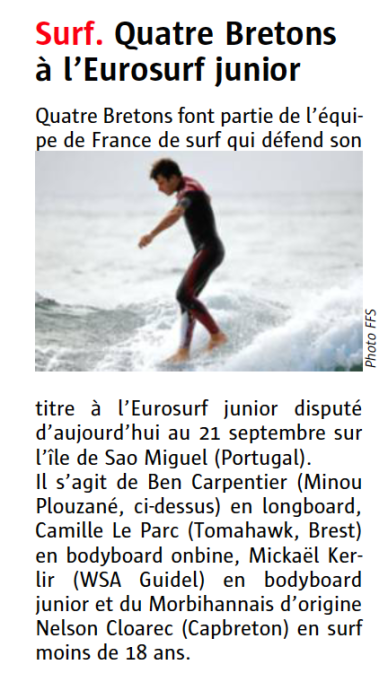 Benoit Carpentier-Le Télégramme -page Sports- 13sept2014
