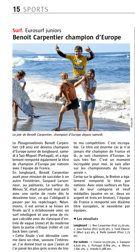 Benoit Carpentier-Le Télégramme -page Sports- 22sept2014