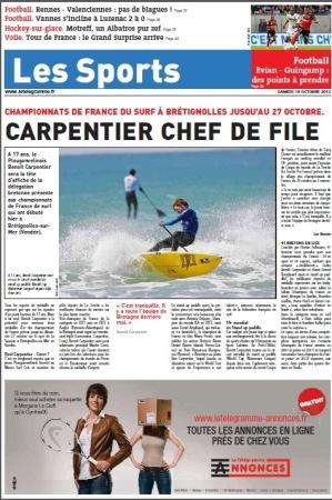 Une Page supplémént Sports Le Télégramme 19oct
