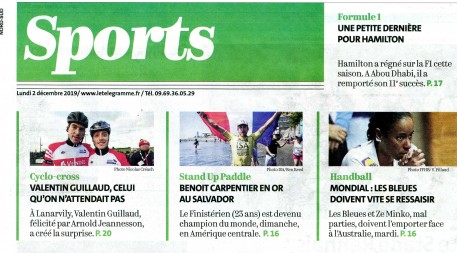 ®Benoit-CARPENTIER-Parution-UNE-PageSports-2dec2019 -©-LeTelegramme